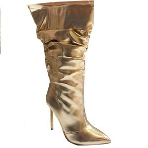 Woman metallic slouchy mid calf pointy toe boot